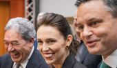 Prime Minister Jacinda Ardern with Winston Peters and James Shaw.
