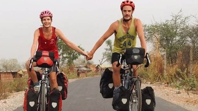 Tane Welton, 33, and Anneke Liefting, 29, have cycled some 24,000km through 28 countries in 21 months. (Photo / Supplied)