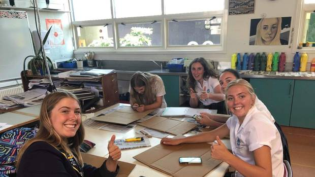 Students at Nelson College for Girls have started preparing banners for the global school strike for climate. Photo / Supplied