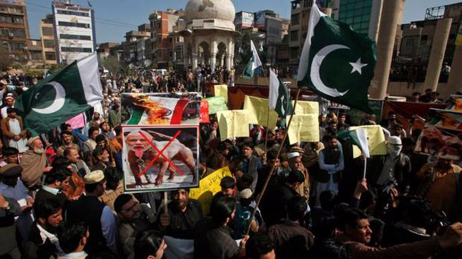 Pakistani protesters rally against India to denounce the recent killings by Indian forces in the disputed Himalayan region of Kashmir, in Peshawar this week. Photo / AP