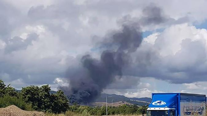 The wind was pushing the flames towards the south, a witness said. (Photo / Ash Wearing)