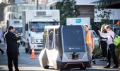 Spark's demo of a driver-less Ohmio vehicle controlled via 5G at Wynyard Quarter. (Photo / Jason Oxenham)