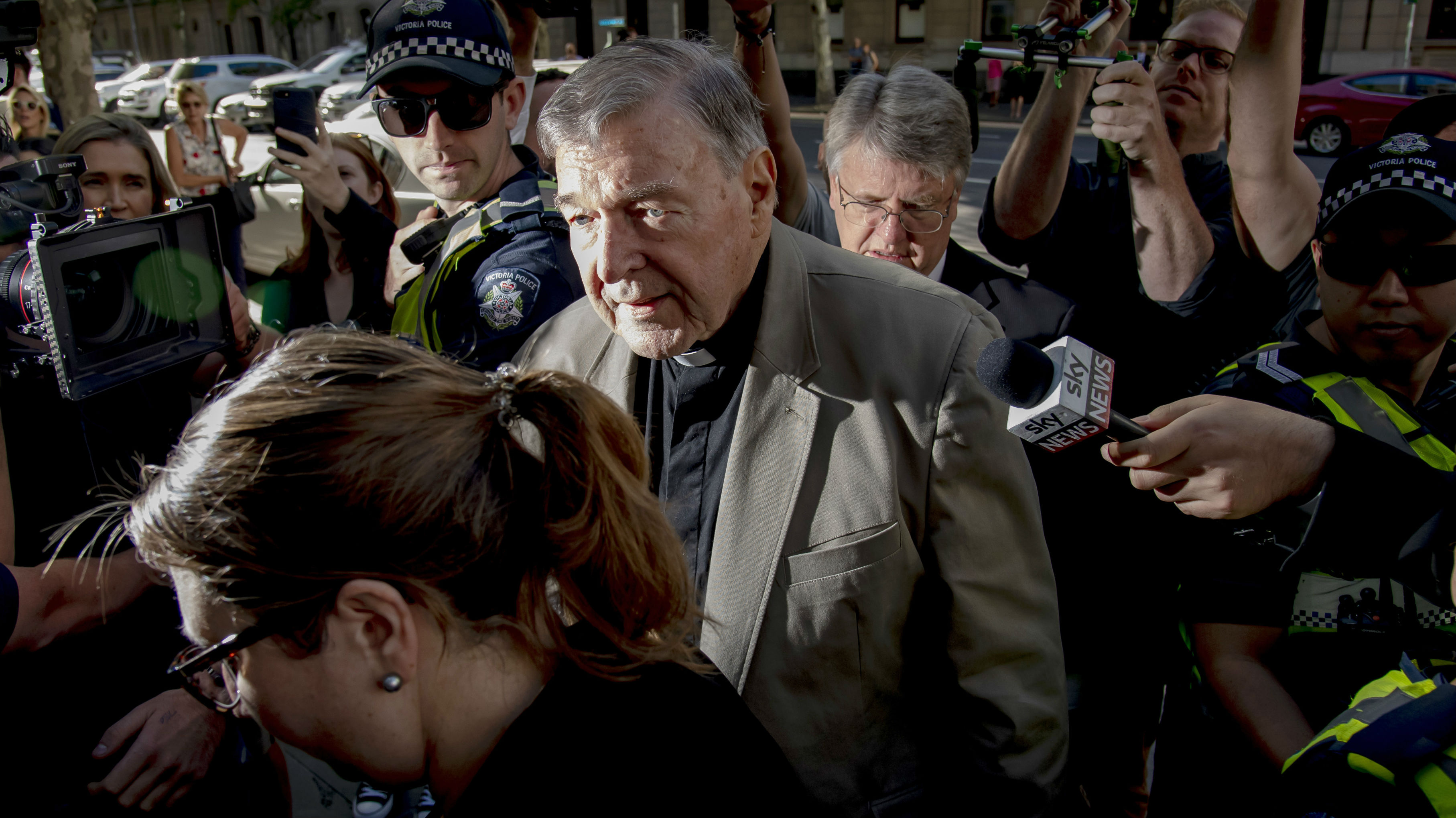Cardinal George Pell entering court. Photo / AP