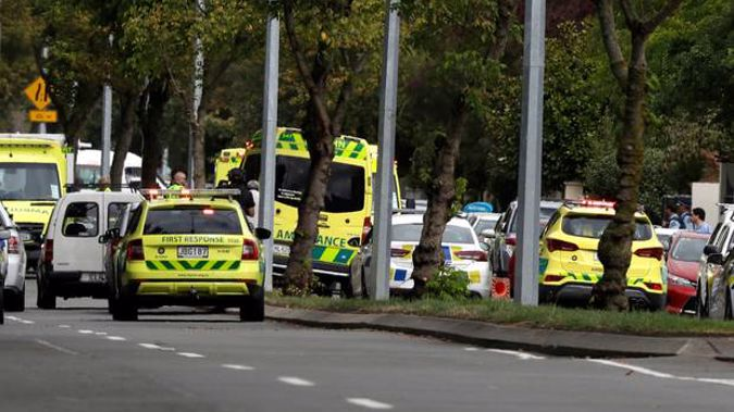 Ambulances parked outside a mosque in central Christchurch. Photo / AP