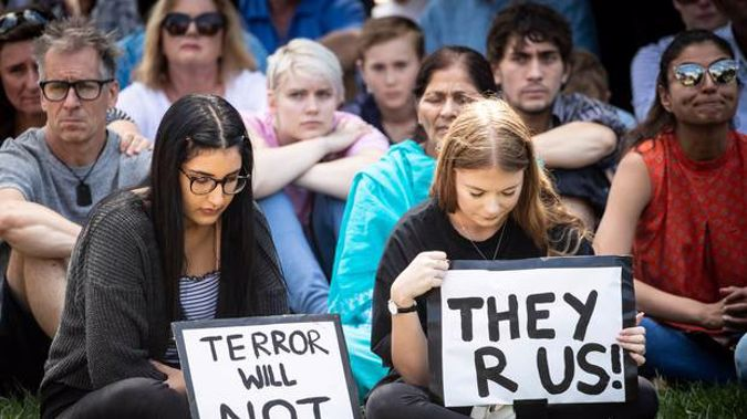 Aucklanders gathered for a vigil in Aotea Square in support of the victims of the Christchurch mosque killings. Photo / Jason Oxenham