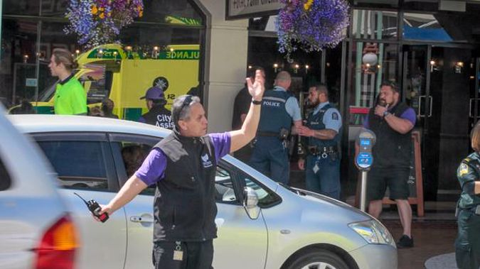 Hastings City Assist help direct traffic on the day a man went berserk on coffee at Focal Point Cinema. Photo / File