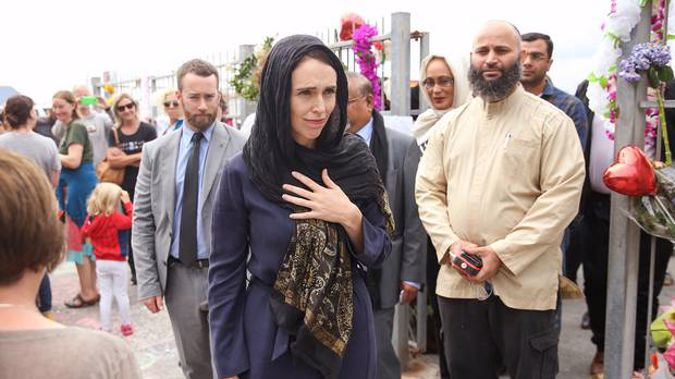 Prime Minister Jacinda Ardern during a visit to the Kilbirnie Mosque. (Photo / NZ Herald)