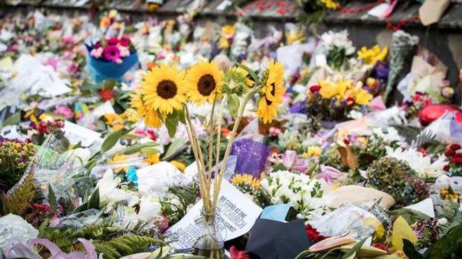 Flower tributes at Christchurch Botanic Gardens. Photo / Michael Craig.
