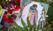 A drawing placed at a Christchurch terror attack vigil. Photo / Getty Images