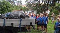 Primary school children got to see the animal up close. (Photo / Supplied)