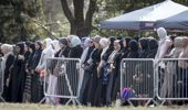 Mourners gather at the first funeral following the Christchurch terror attack. Photo / NZME
