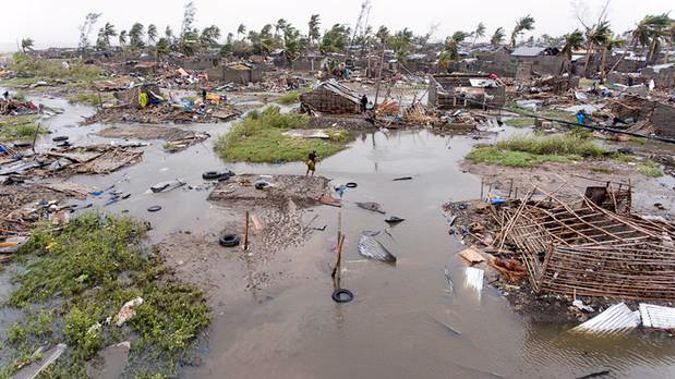 An aerial view of the destruction of homes after Tropical Cyclone Idai, in Beira, Mozambique. Photo / AP