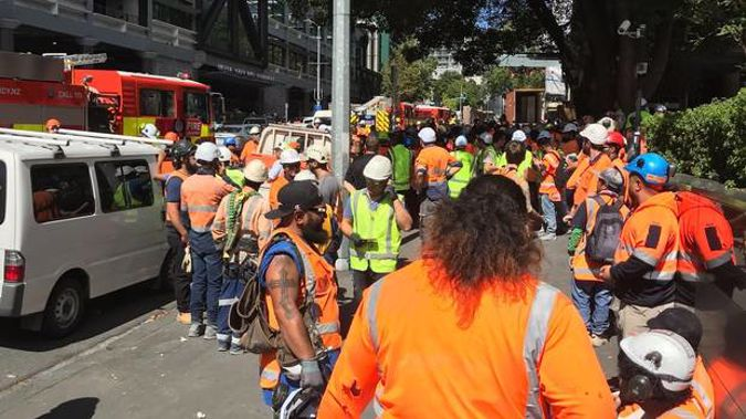Workers evacuated from the construction site for the NZ International Convention Centre at SkyCity. Photo / Stewart Sowman-Lund