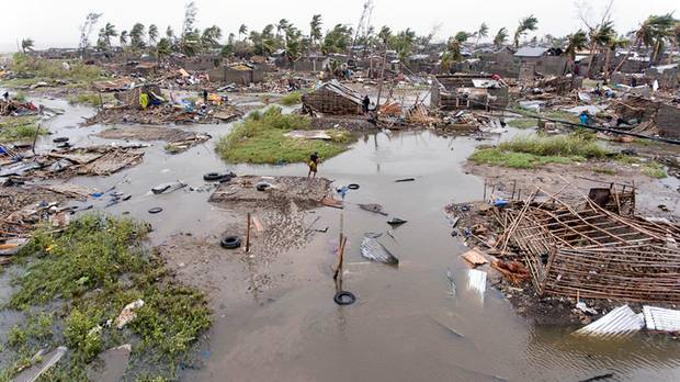 An aerial view of the destruction of homes after Tropical Cyclone Idai in Beira Mozambique. Photo / AP