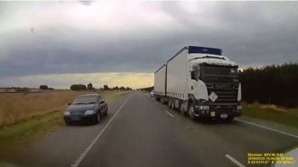 'Inches from carnage': Terrifying motorway near-miss