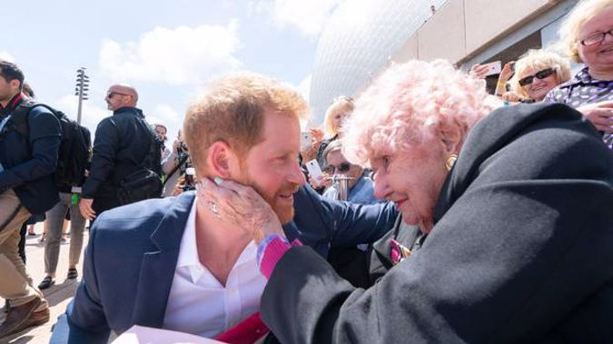 Prince Harry during his most recent catch-up with the 99-year-old. Photo / Getty Images