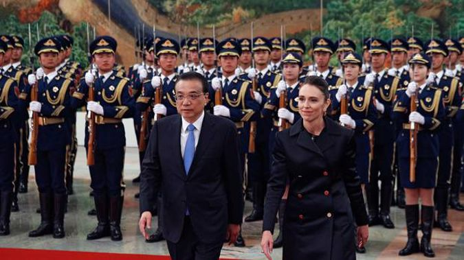 Prime Minister Jacinda Ardern with the Chinese Premier Li Keqiang. Photo / AP