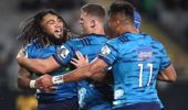 Ma'a Nonu of the Blues celebrates his try against the Waratahs. Photo / Getty