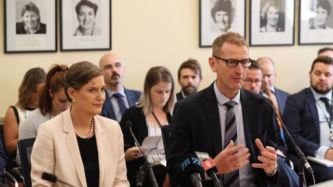Rebecca Kitteridge and Andrew Hampton addressed the select committee today. (Photo / NZ Herald)