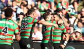 Cody Walker of Rabbitohs celebrates a try. (Photo / Getty)