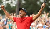 Tiger Woods reacts after winning his 15th major title. Photo / Getty