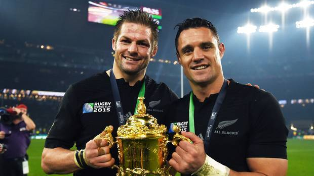 Richie McCaw and Dan Carter with the Webb Ellis Trophy after the All Blacks won their back-to-back title at Twickenham in 2015. Photo / Photosport.