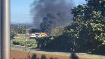 Watch: Truck on fire near Southern Motorway