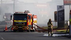 Fire crews battle a blaze in Onehunga. (Photo / Sam Sword)