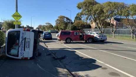 Ute smashes into police car after family harm incident