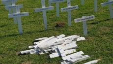 Vandals in Huntly destroy Anzac Day memorial crosses