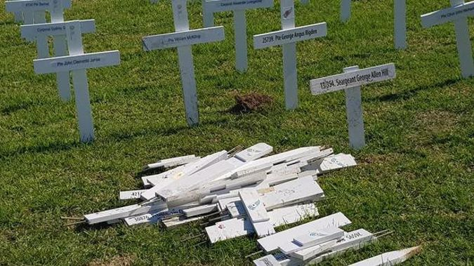 Dozens of the Huntly RSA crosses were damaged in the attack. Photo / Antonello Savini