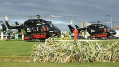 The three survivors rescued from the Auckland Islands helicopter crash have arrived at Southland Hospital. (Photo / Otago Daily Times)