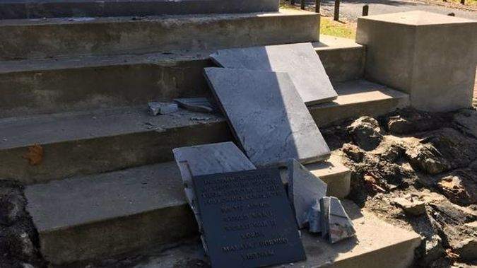 The cenotaphy at Ngaruawahia after being hit by vandals this week. Despite the damage, the Anzac service will continue tomorrow. Photo / WDC