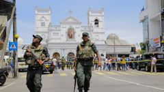 Sri Lankan Army soldiers secure the area around St. Anthony's Shrine after the blast in Colombo, Sri Lanka, on Easter Sunday. Photo / AP