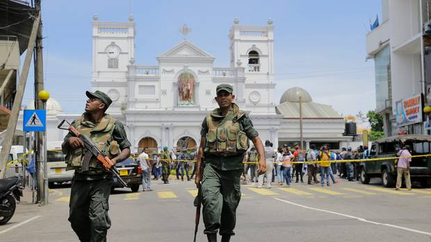 Sri Lankan Army soldiers secure the area around St Anthonys Shrine after the blast in Colombo Sri Lanka on Easter Sunday. (Photo / AP)