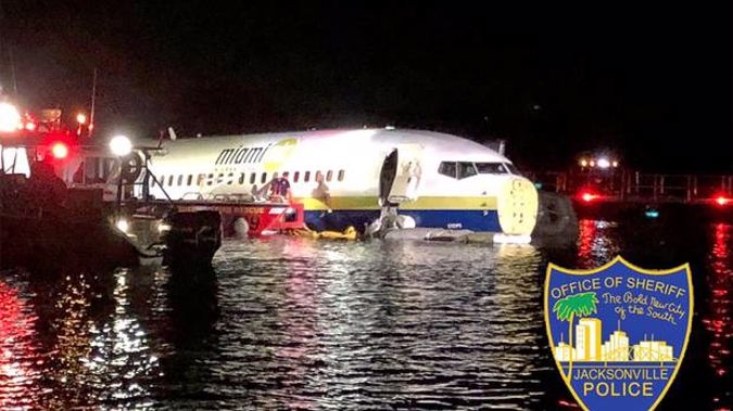 Officials say everyone on the plane was alive and accounted for. (Photo / Jacksonville Sheriff's Office via AP)