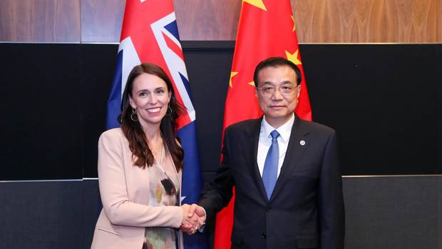 Jacinda Ardern and Chinese Premier Li Keqiang at the Asean Summit in November in Singapore. Photo / ASEAN