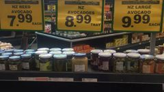 Avocados are for sale at Fruit World Mount Roskill for $10 for one. Photo / NZME