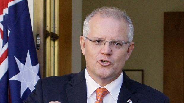 Scott Morrison was close to being egged. (Photo / AP)