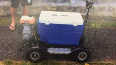 The motorised chilly bin Daniel Hurley took for a spin after a few drinks last year has netted him a conviction and a $700 fine. (Photo / Police)
