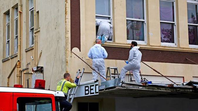 Police at the scene where Lorna-Anne Marie Thompson was found dead last month. Photo / Bevan Conley.