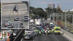 Police helicopter lands on Auckland motorway after crash