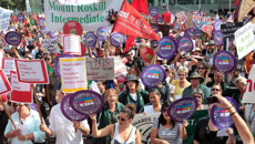 Primary and secondary school teachers combine for mega-strike