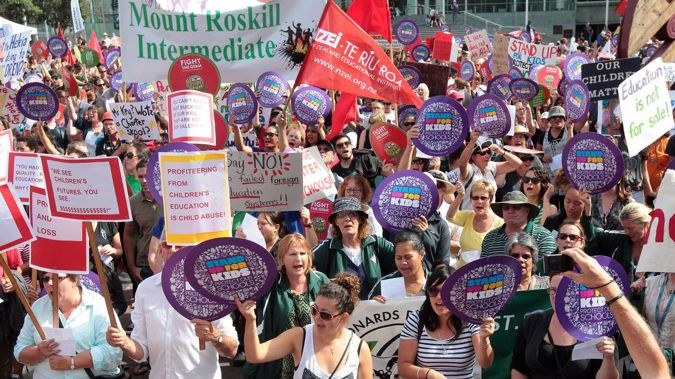 Primary school teachers, seen here striking last year, will team up with secondary school teachers this month.  (Photo / NZ Herald)