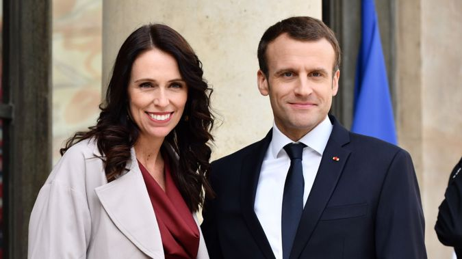New Zealand Prime Minister Jacinda Ardern and French President Emmanuel Macron. Photo / Getty Images.