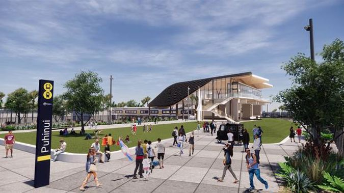 A contract has been awarded for the new Puhinui Rail Station Interchange, shown in this artist's impression, with work to begin in October. Image / Supplied