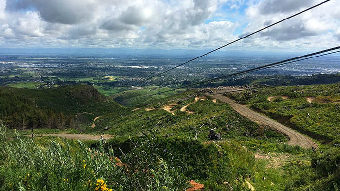 The view from the top of one of the Christchurch Adventure Park ziplines. (Photo / Supplied)