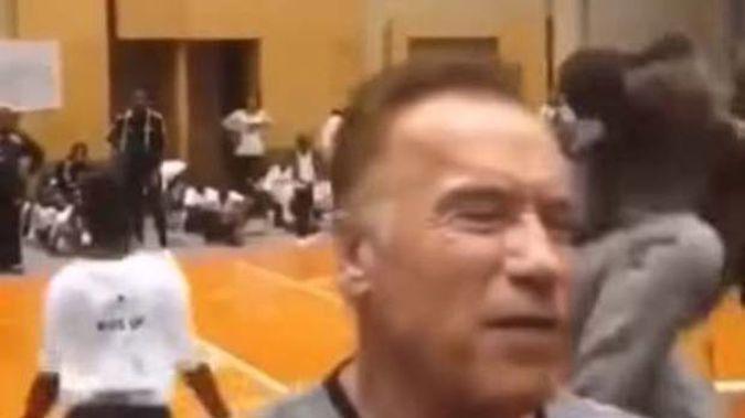 Arnold Schwarzenegger was drop kicked in South Africa. (Photo / Twitter)