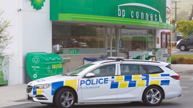 Police at Lynmore BP on December 10 last year after the aggravated robbery. Photo / File