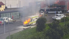 Ambulance on fire at Otahuhu train station